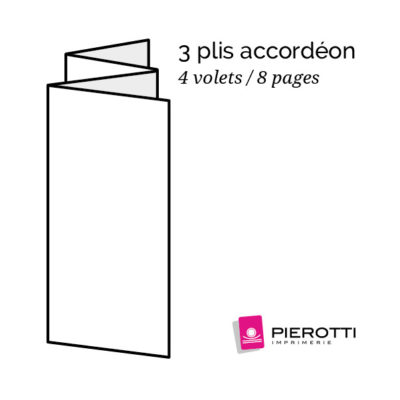 Plis accordeon 4 volets 8 pages